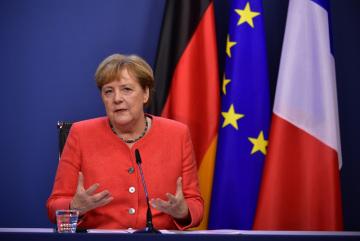 Německá kancléřka Angela Merkelová na tiskové konferenci v Bruselu na závěr summitu EU k fondu rozpočtu, 21. července 2020.