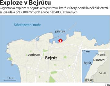 Exploze v libanonské metropoli Bejrútu - ilustrační mapka oblasti.