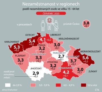 Podíl nezaměstnaných osob ve věku 15 - 64 let v červenci 2020 v regionech.