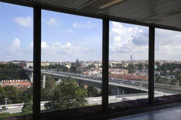 Výhled z Kongresového centra Praha (na snímku z 19. srpna 2020).