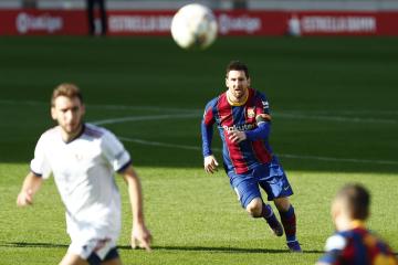 Fotbalista Barcelony Lionel Messi v utkání 11. kola španělské ligy s Pamplonou.