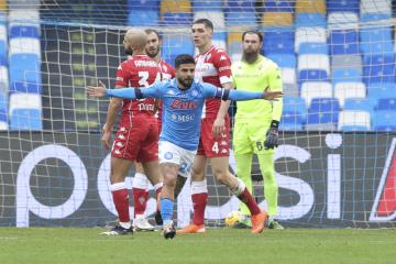 Fotbalista Napole Lorenzo Insigne se raduje z gólu v utkání 18. kola italské ligy s Fiorentinou.