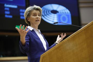 Šéfka Evropské komise Ursula von der Leyenová v debatě s europoslanci 20. ledna 2021.