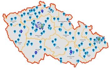 Aktuální mapa dobíjecích bodů PRE v ČR
