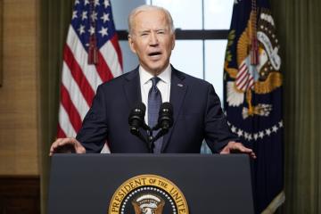 Americký prezident Joe Biden během proslovu v Bílém domě 14. dubna 2021.
