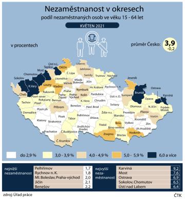 Nezaměstnanost v okresech ČR v květnu 2021.
