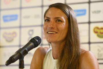 Maratonská běžkyně Marcela Joglová vystoupila 7. července 2021 v Praze na tiskové konferenci.