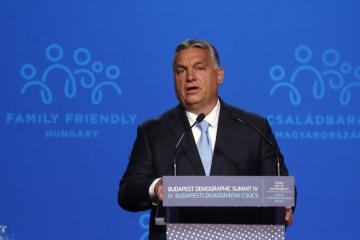 Maďarský premiér Viktor Orbán na demografickém summitu v Budapešti.