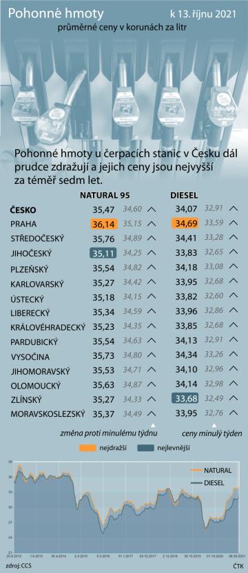 Pohonné hmoty u čerpacích stanic v Česku dál prudce zdražují a jejich ceny jsou nejvyšší za téměř sedm let.